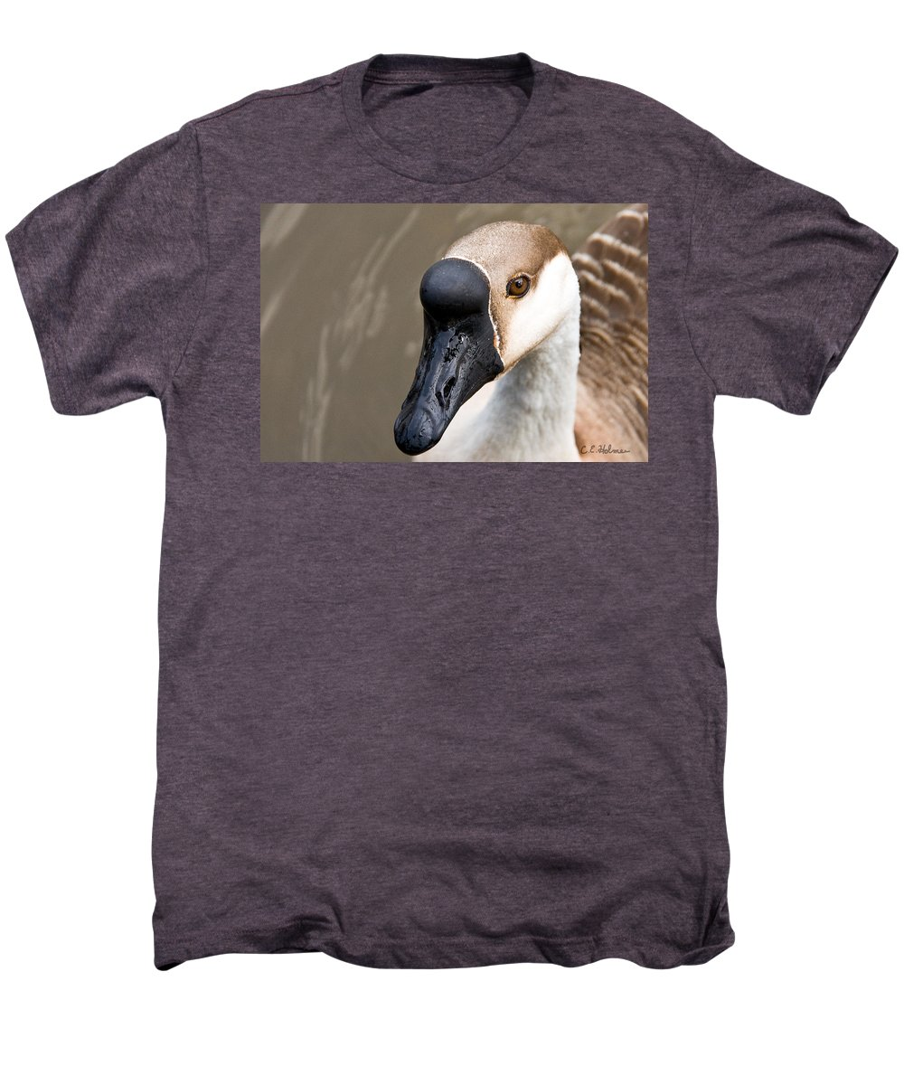 Chinese Brown Goose Men's Premium T-Shirt featuring the photograph Brown Eye by Christopher Holmes