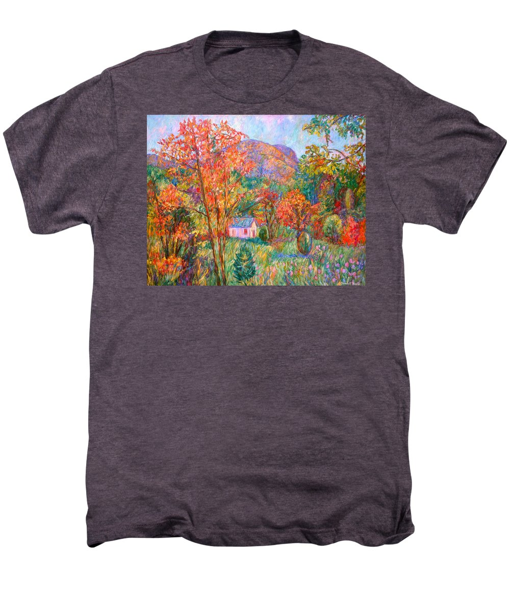 Landscape Men's Premium T-Shirt featuring the painting Buffalo Mountain In Fall by Kendall Kessler