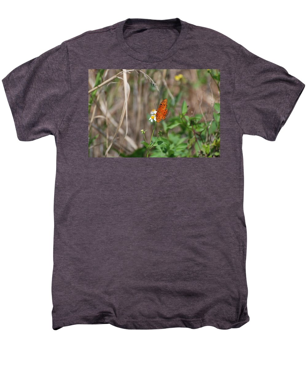 Nature Men's Premium T-Shirt featuring the photograph Butterfly On Flower by Rob Hans