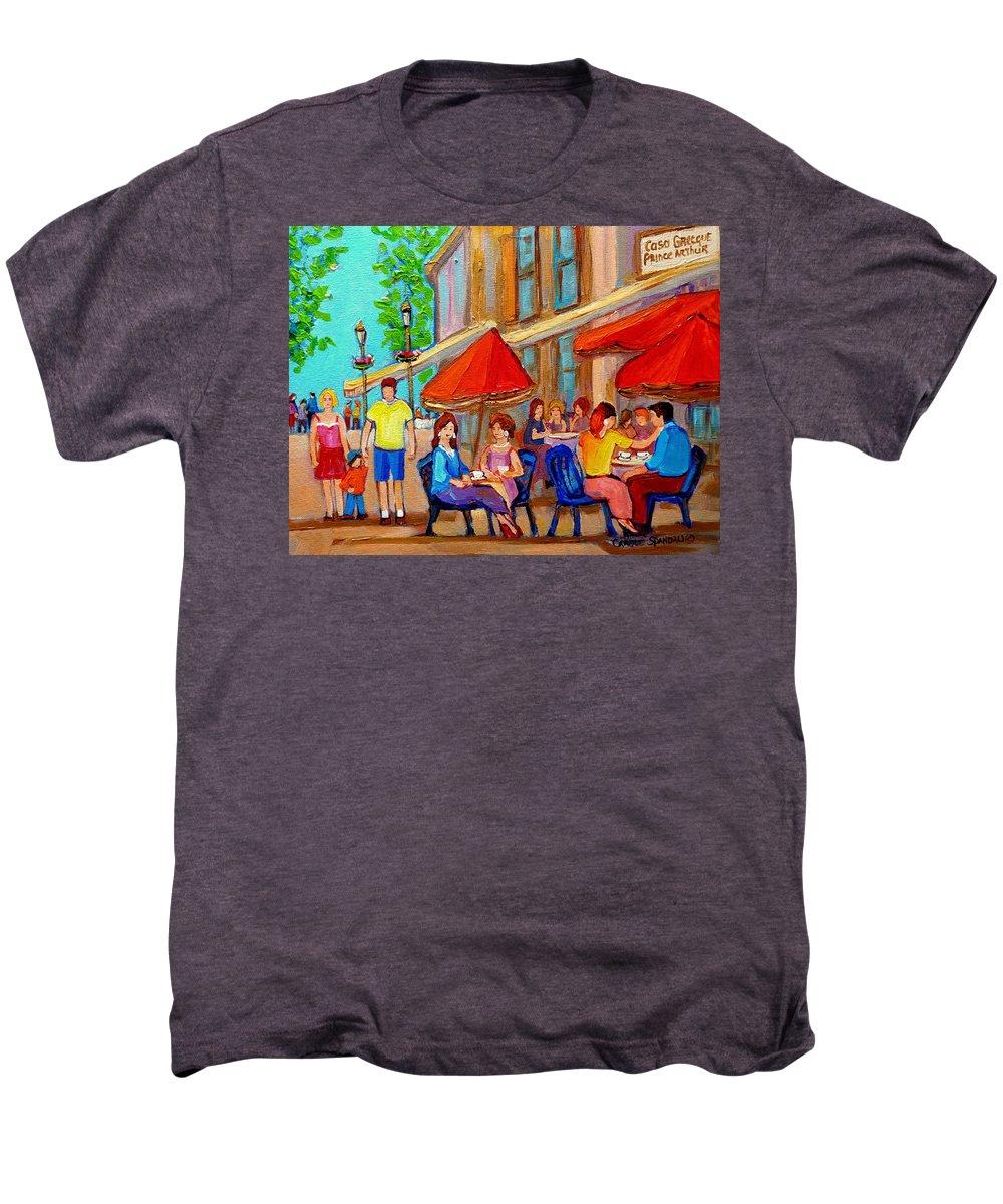 Cafescene Men's Premium T-Shirt featuring the painting Cafe Casa Grecque Prince Arthur by Carole Spandau