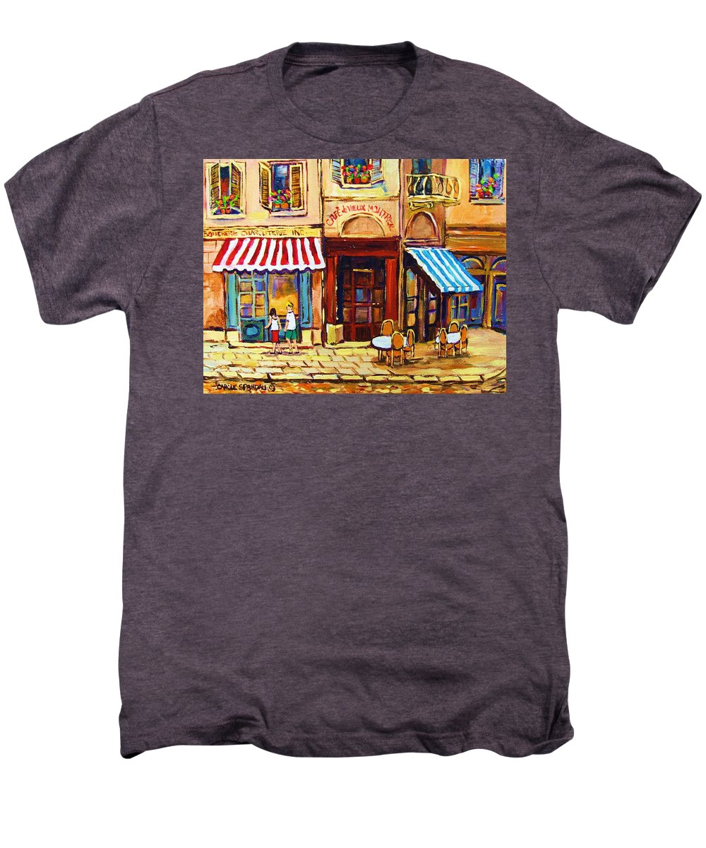 Old Montreal Outdoor Cafe City Scenes Men's Premium T-Shirt featuring the painting Cafe De Vieux Montreal With Couple by Carole Spandau