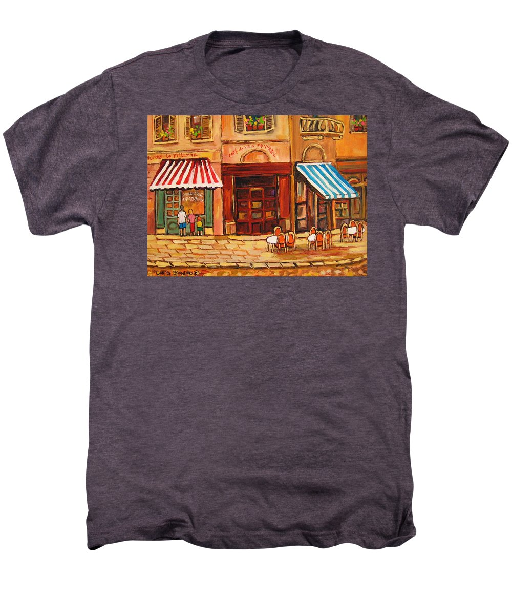 Cafe Vieux Montreal Street Scenes Men's Premium T-Shirt featuring the painting Cafe Vieux Montreal by Carole Spandau