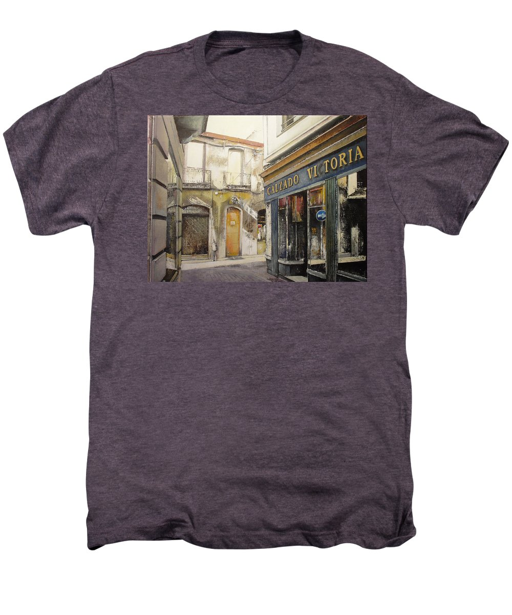 Calzados Men's Premium T-Shirt featuring the painting Calzados Victoria-leon by Tomas Castano