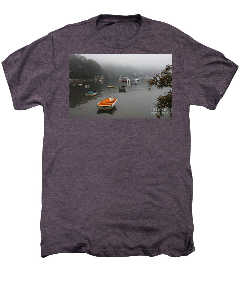 Mist Men's Premium T-Shirt featuring the photograph Careel Bay Mist by Sheila Smart Fine Art Photography
