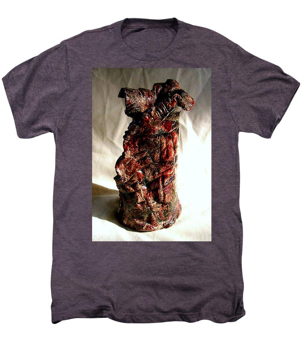 Ceramic Men's Premium T-Shirt featuring the ceramic art Ceramic Red Vase by Madalena Lobao-Tello