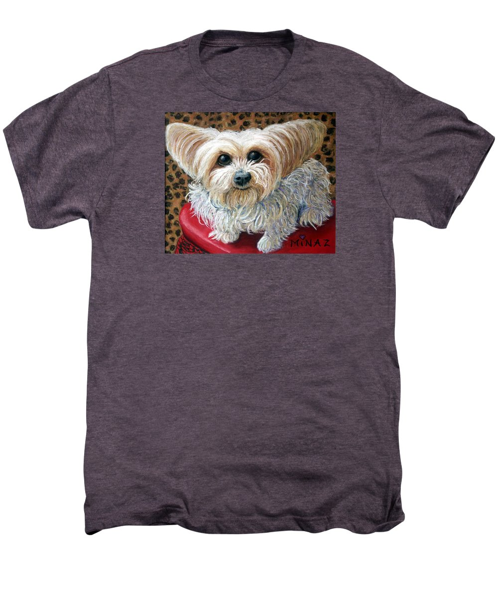 Dog Men's Premium T-Shirt featuring the painting My Friend by Minaz Jantz