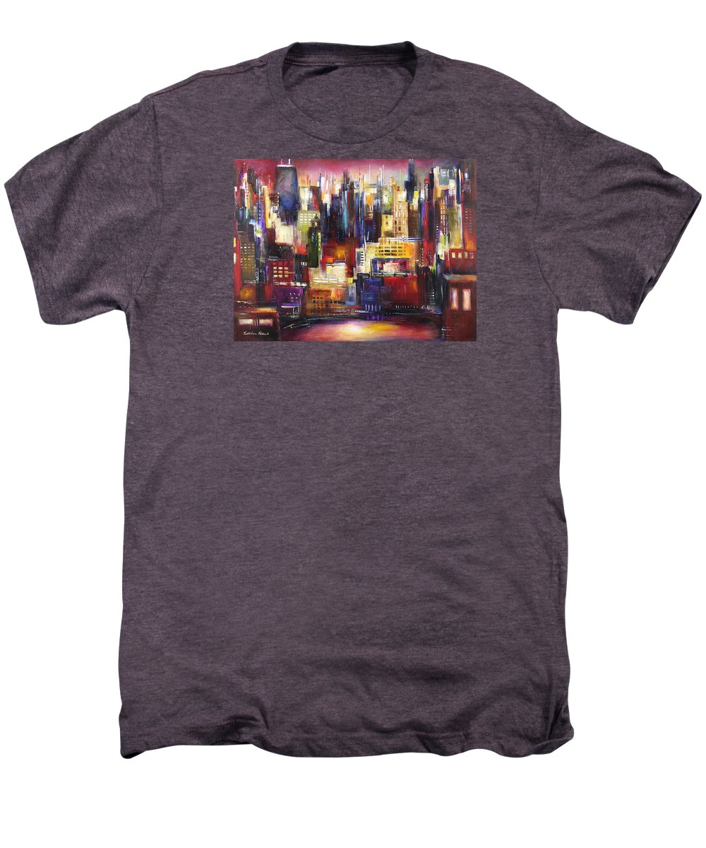 Chicago Art Men's Premium T-Shirt featuring the painting Chicago City View by Kathleen Patrick