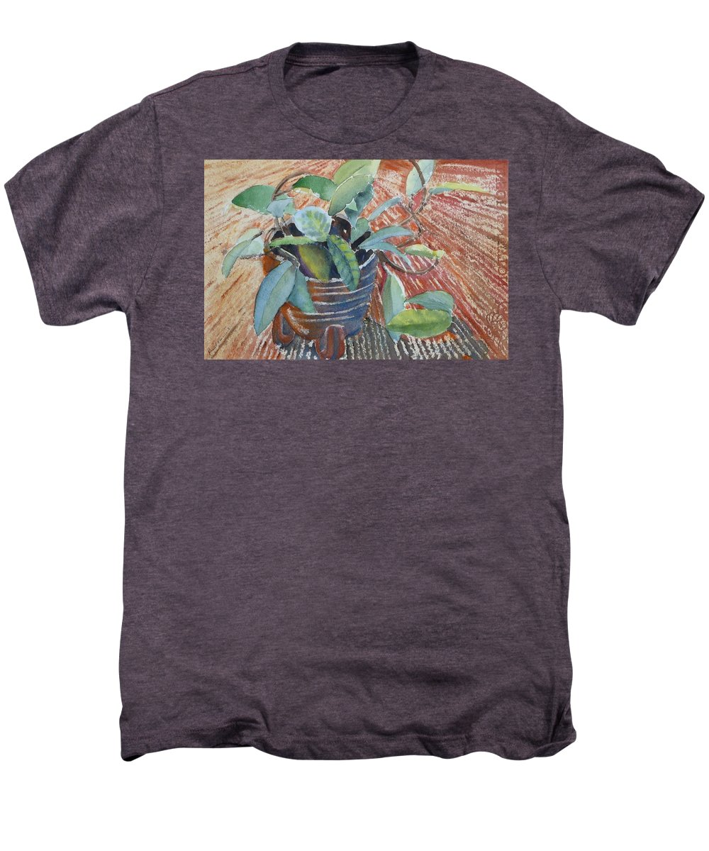 Vine Men's Premium T-Shirt featuring the painting Clay Pot by Ruth Kamenev