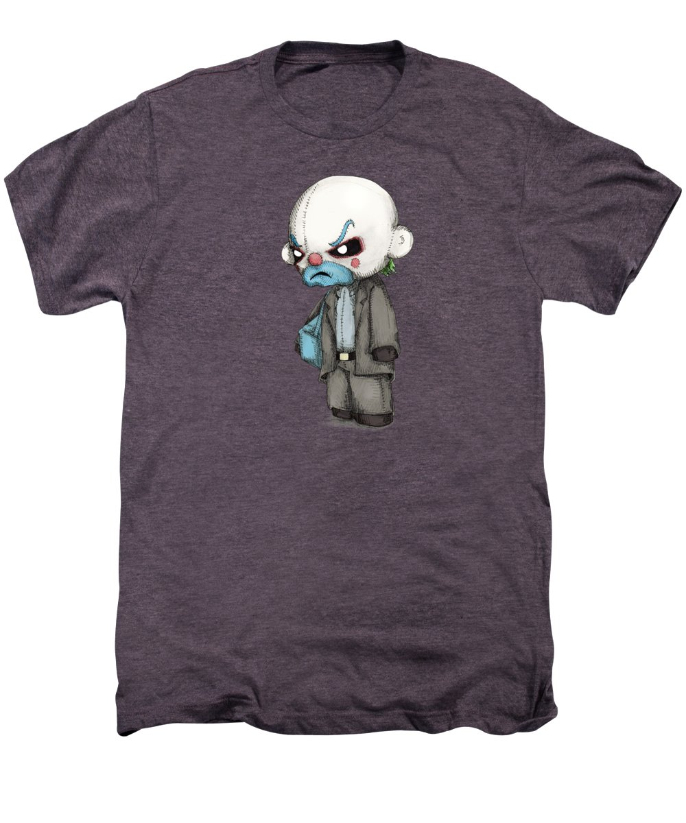 Bank Men's Premium T-Shirt featuring the drawing Clown Bank Robber Plush by Ludwig Van Bacon