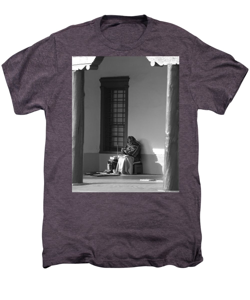 Southwestern Men's Premium T-Shirt featuring the photograph Cold Native American Woman by Rob Hans