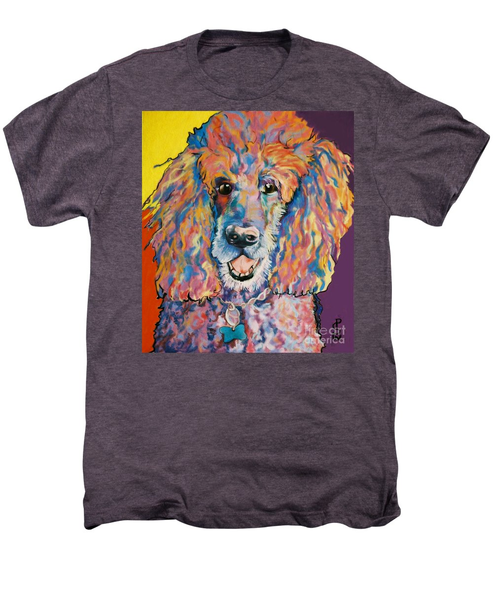 Standard Poodle Men's Premium T-Shirt featuring the painting Cole by Pat Saunders-White