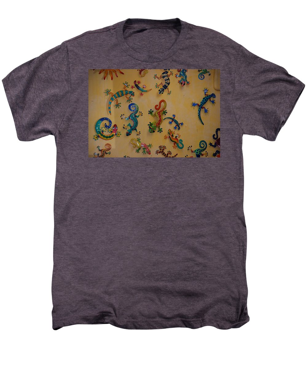 Pop Art Men's Premium T-Shirt featuring the photograph Color Lizards On The Wall by Rob Hans