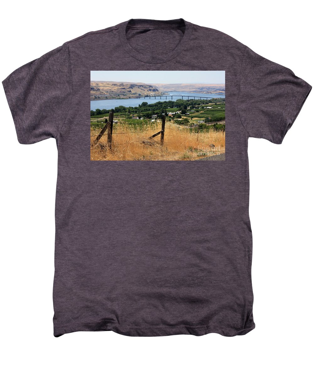 River Men's Premium T-Shirt featuring the photograph Columbia River - Biggs And Maryhill State Park by Carol Groenen