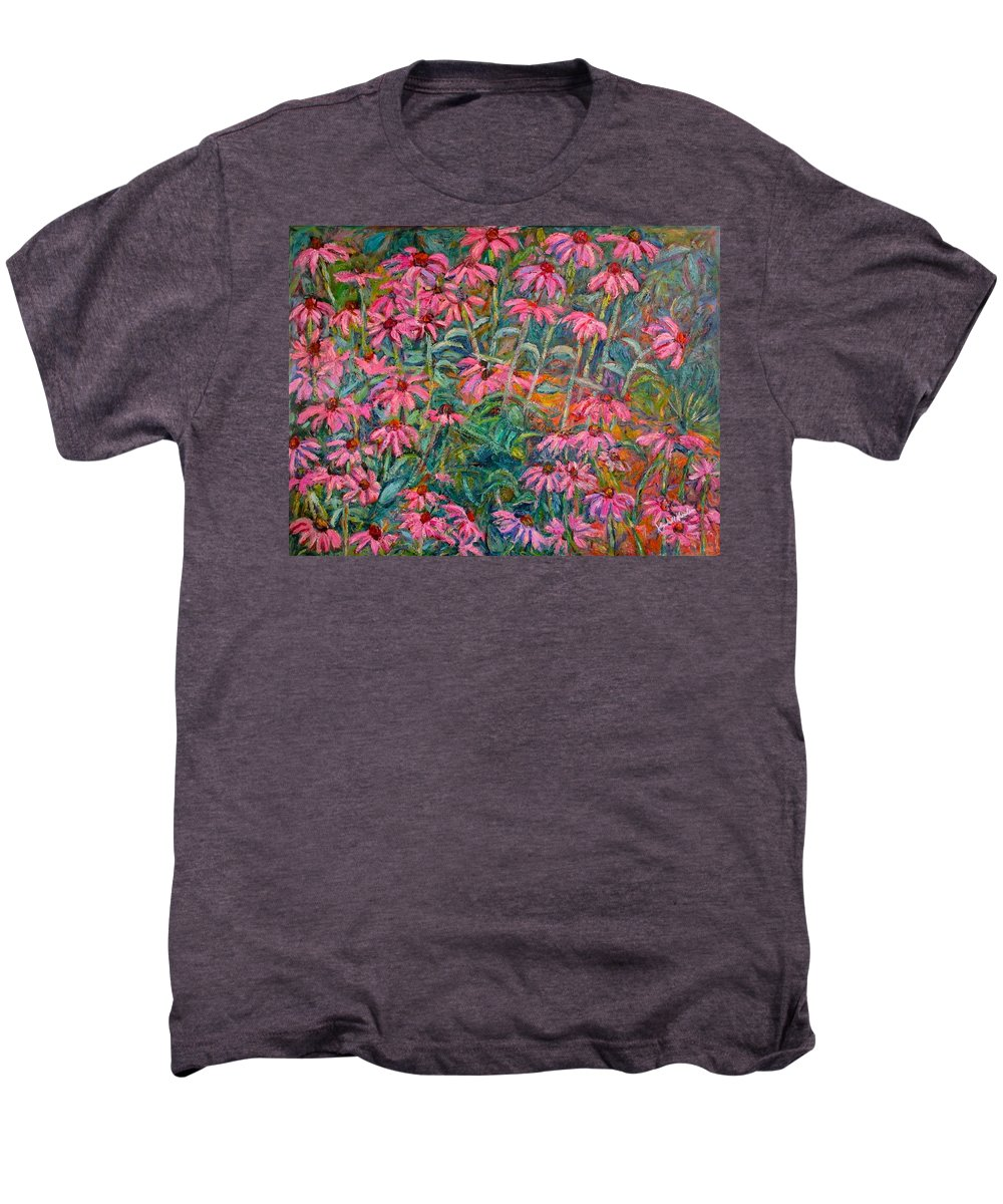 Kendall Kessler Men's Premium T-Shirt featuring the painting Coneflowers by Kendall Kessler