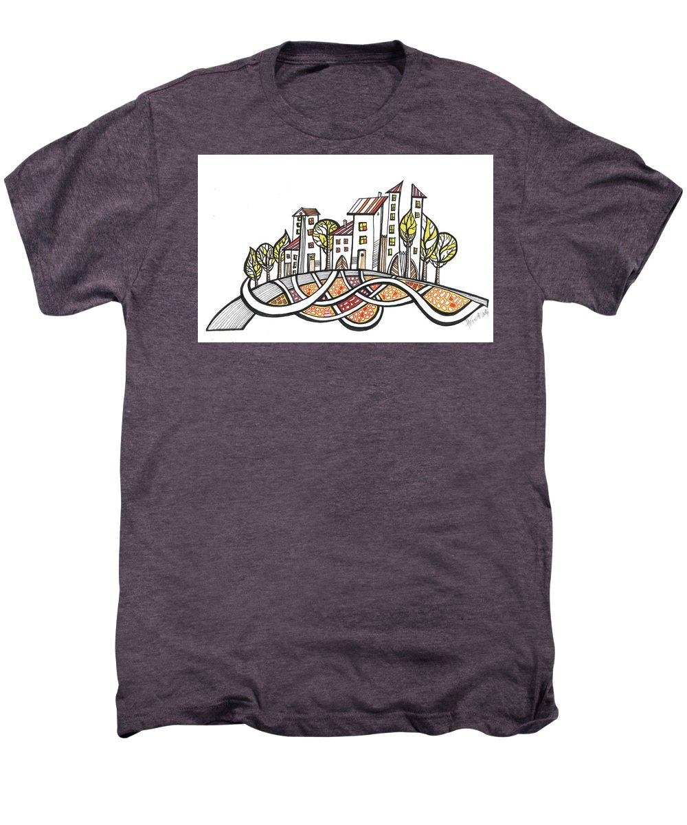 Houses Men's Premium T-Shirt featuring the drawing Connections by Aniko Hencz