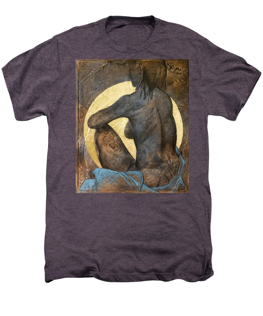 Nude Men's Premium T-Shirt featuring the painting Contemplation by Richard Hoedl