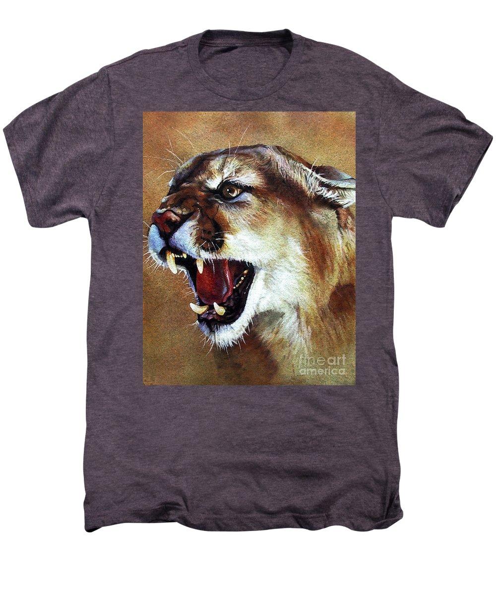 Southwest Art Men's Premium T-Shirt featuring the painting Cougar by J W Baker