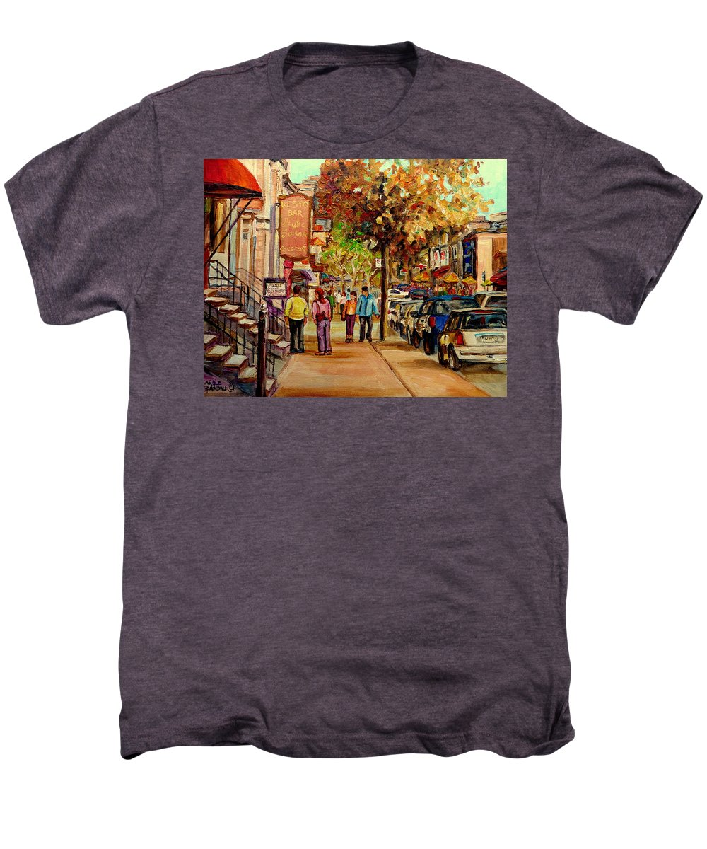 Montreal Streetscenes Men's Premium T-Shirt featuring the painting Crescent Street Montreal by Carole Spandau