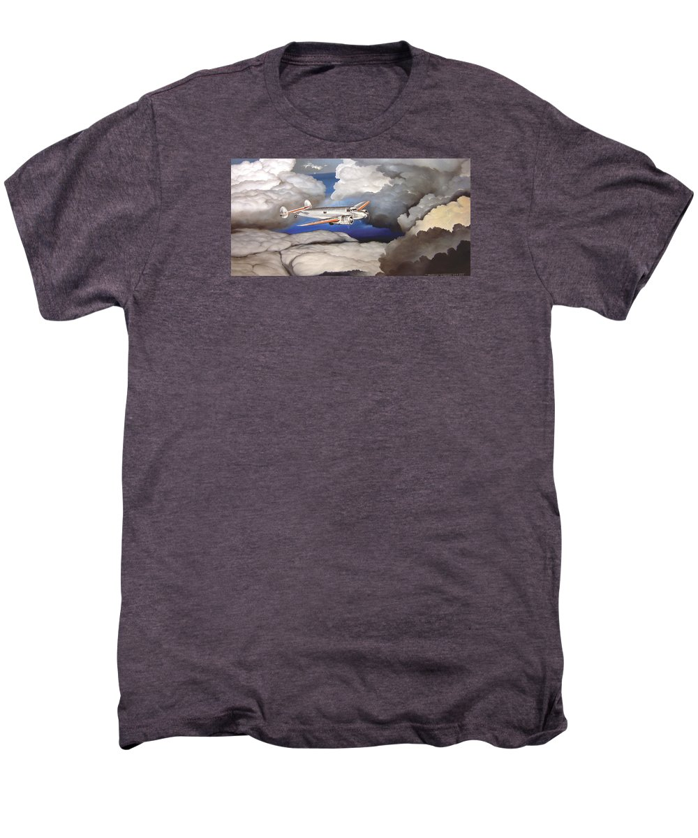 Aviation Men's Premium T-Shirt featuring the painting Crossing Over Amelia Earharts Final Flight by Marc Stewart