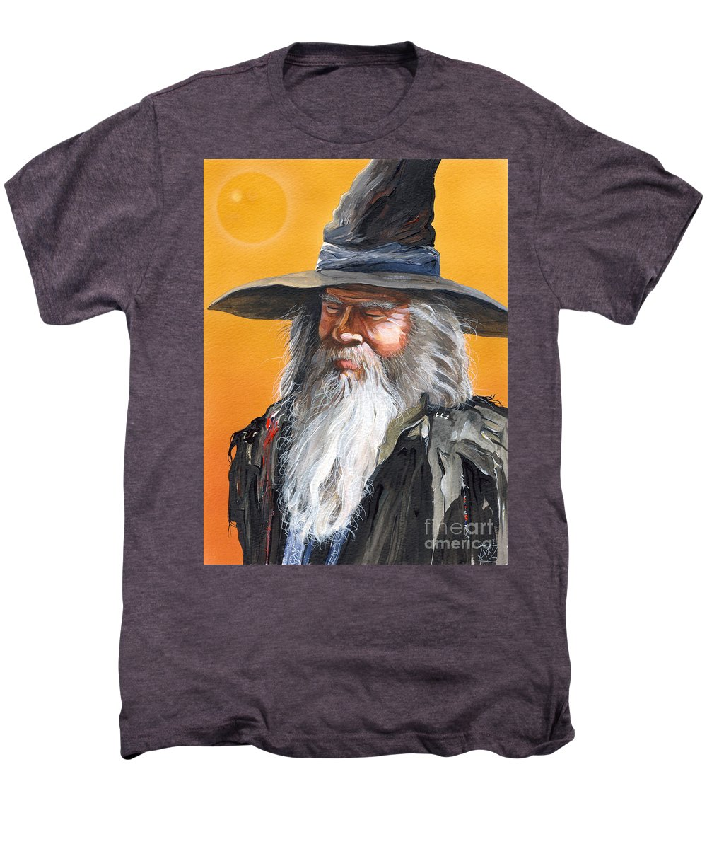 Fantasy Art Men's Premium T-Shirt featuring the painting Daydream Wizard by J W Baker