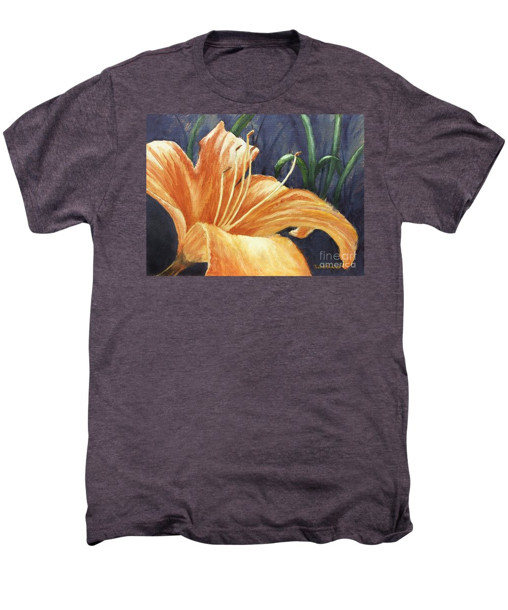 Flower Men's Premium T-Shirt featuring the painting Daylily by Todd A Blanchard