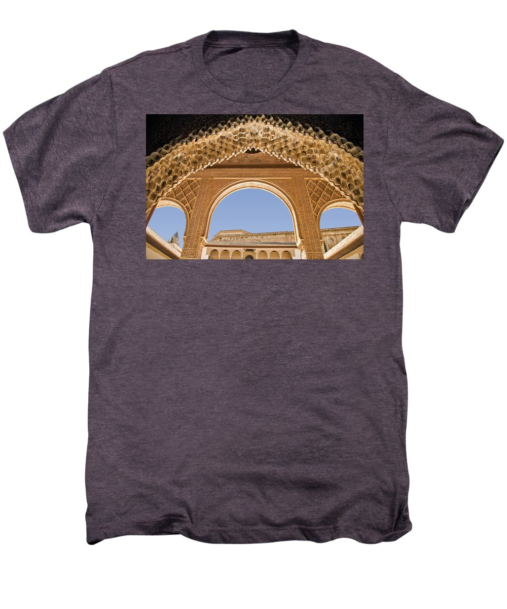 Architecture Men's Premium T-Shirt featuring the photograph Decorative Moorish Architecture In The Nasrid Palaces At The Alhambra Granada Spain by Mal Bray