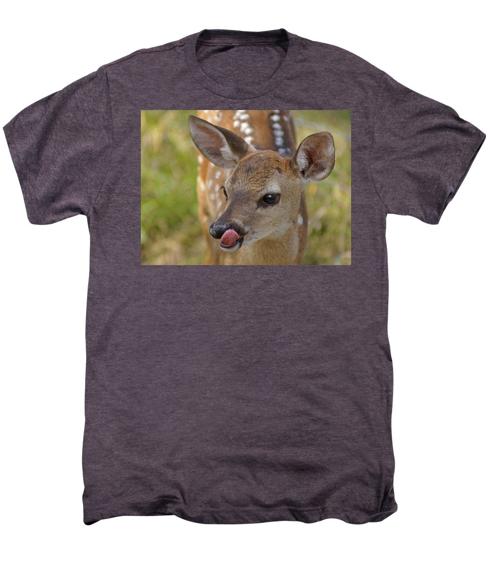 Deer Men's Premium T-Shirt featuring the photograph Delicious Deer by Heather Coen