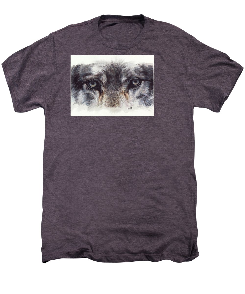 Wolf Men's Premium T-Shirt featuring the painting Eye-catching Wolf by Barbara Keith
