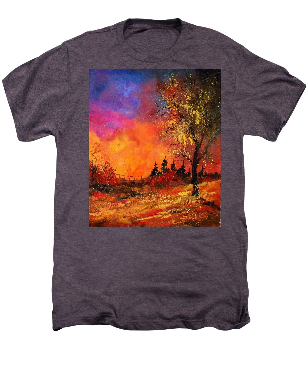 River Men's Premium T-Shirt featuring the painting Fall by Pol Ledent