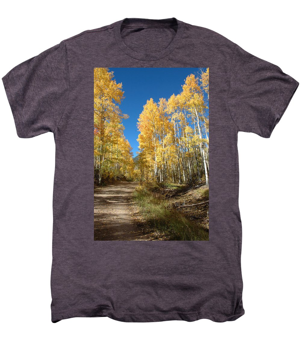 Landscape Men's Premium T-Shirt featuring the photograph Fall Road by Jerry McElroy