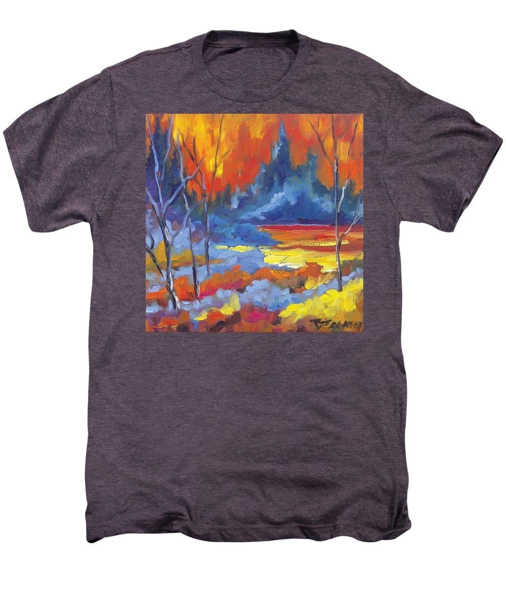 Art Men's Premium T-Shirt featuring the painting Fire Lake by Richard T Pranke