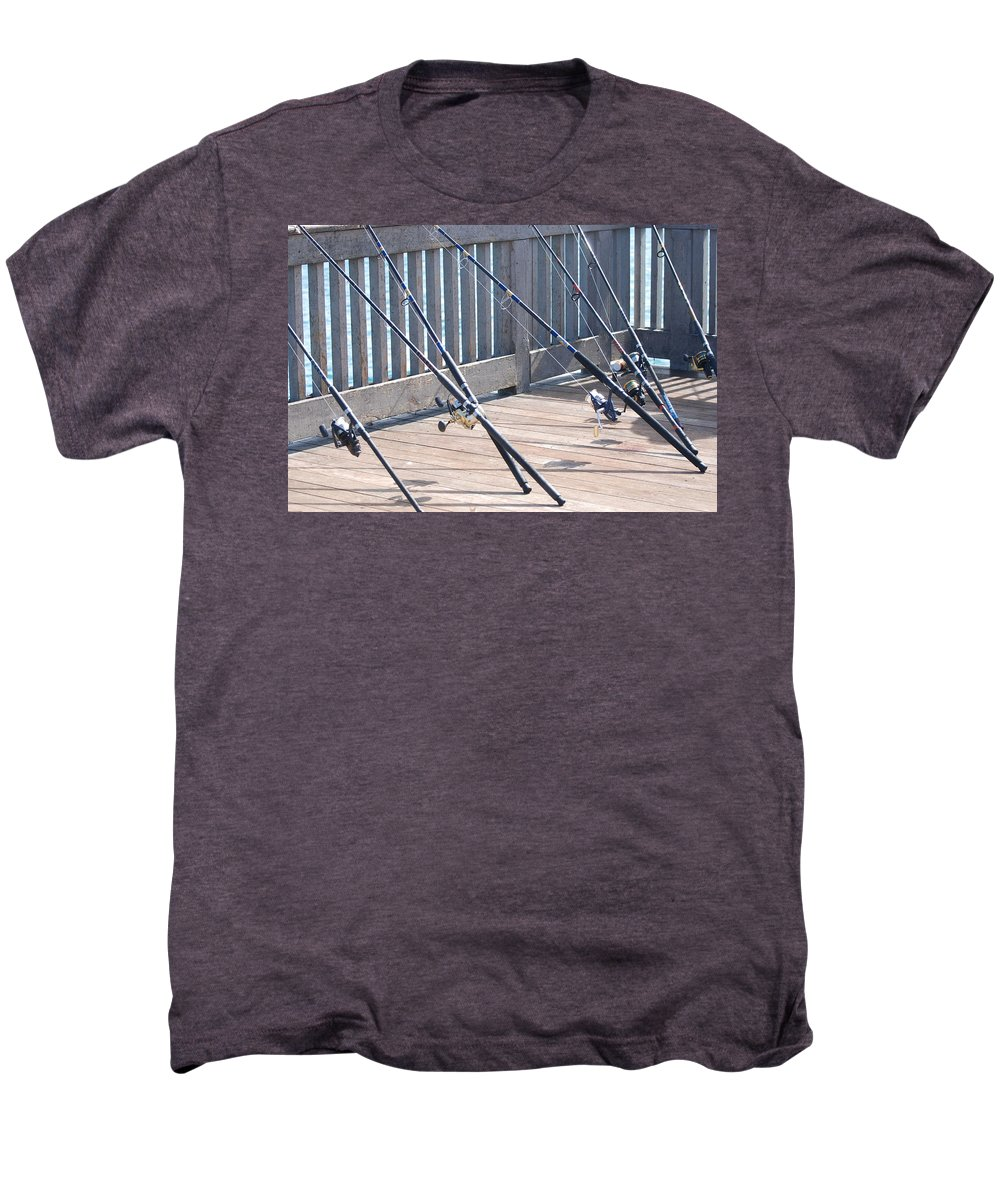 Pier Men's Premium T-Shirt featuring the photograph Fishing Rods by Rob Hans