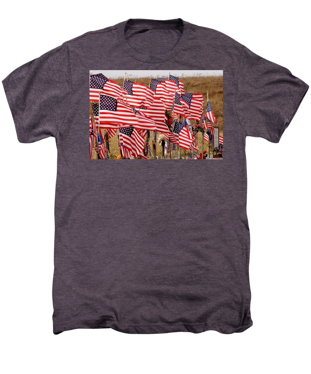 Flags Men's Premium T-Shirt featuring the photograph Flight 93 Flags by Jean Macaluso