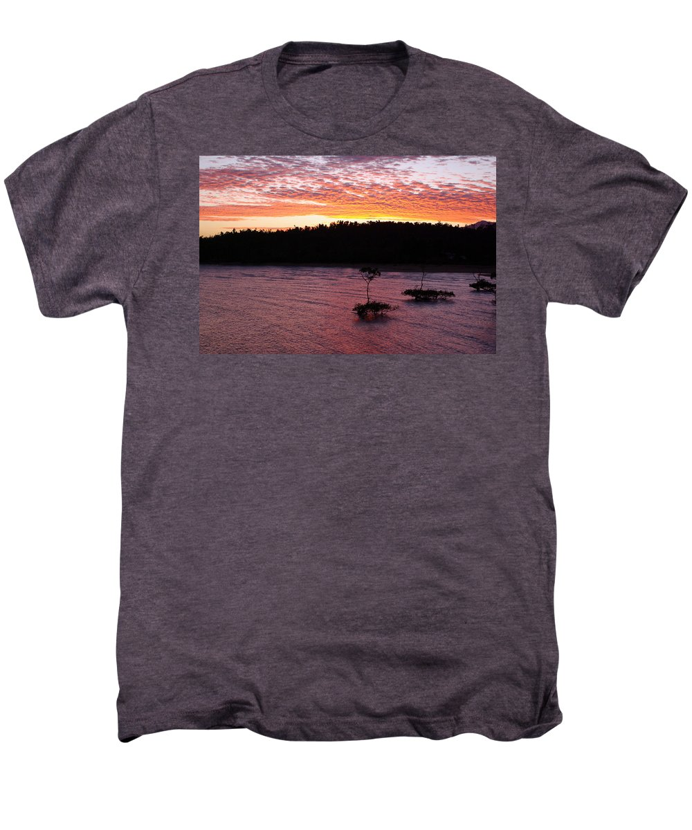 Landscape Men's Premium T-Shirt featuring the photograph Four Elements Sunset Sequence 5 Coconuts Qld by Kerryn Madsen - Pietsch
