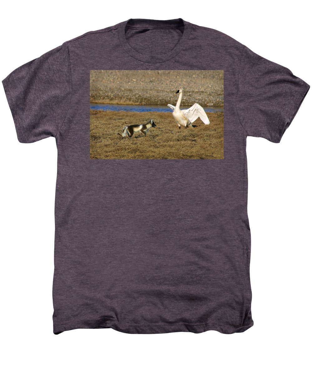 Fox Men's Premium T-Shirt featuring the photograph Fox Vs Swan by Anthony Jones