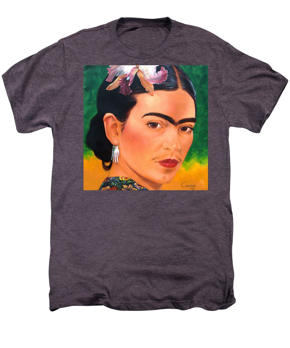 Frida Kahlo Men's Premium T-Shirt featuring the painting Frida Kahlo 2003 by Jerrold Carton