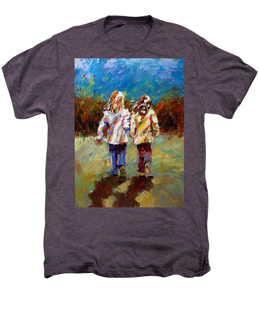 Girls Men's Premium T-Shirt featuring the painting Friends Forever by Debra Hurd