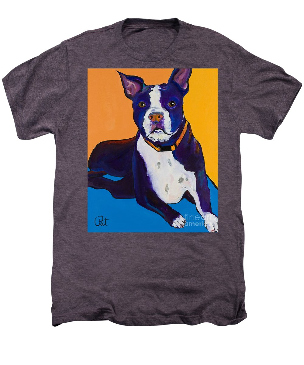 Boston Terrier Men's Premium T-Shirt featuring the painting Georgie by Pat Saunders-White