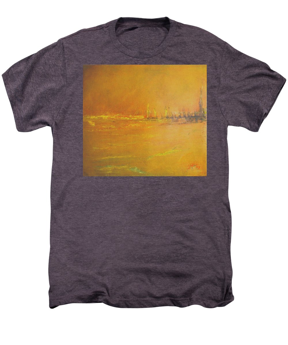 Ships Men's Premium T-Shirt featuring the painting Golden Sky by Jack Diamond