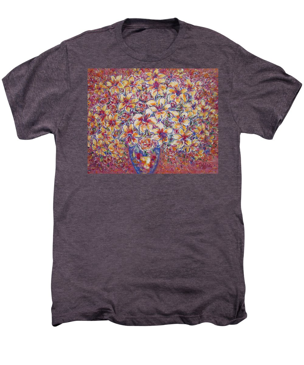 Lily Men's Premium T-Shirt featuring the painting Golden Splendor by Natalie Holland