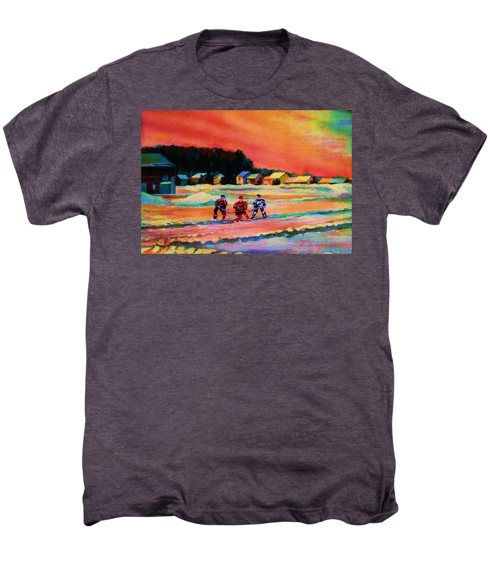 Hockey Landscape Men's Premium T-Shirt featuring the painting Gorgeous Day For A Game by Carole Spandau