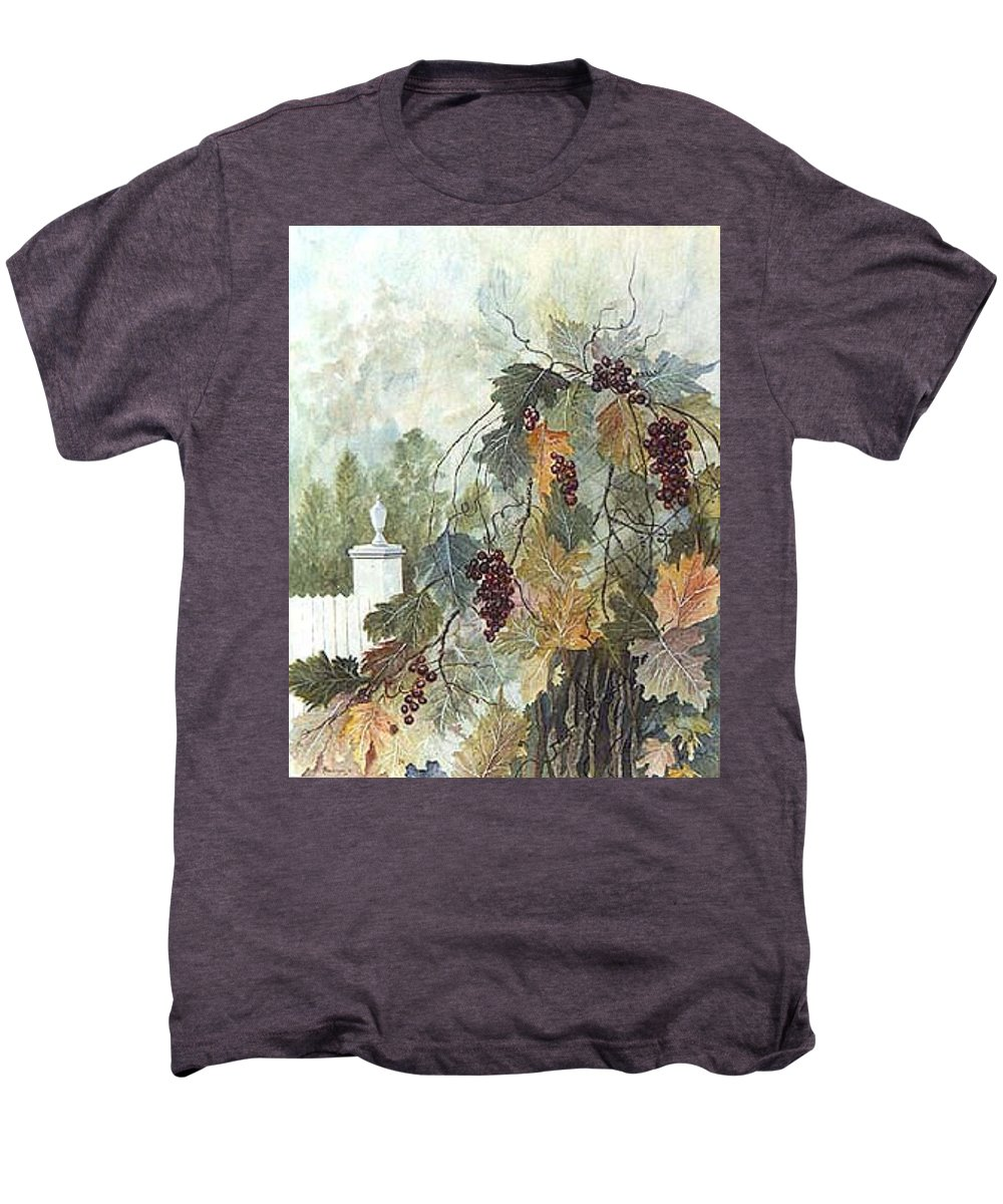 Fruit Men's Premium T-Shirt featuring the painting Grapevine Topiary by Ben Kiger