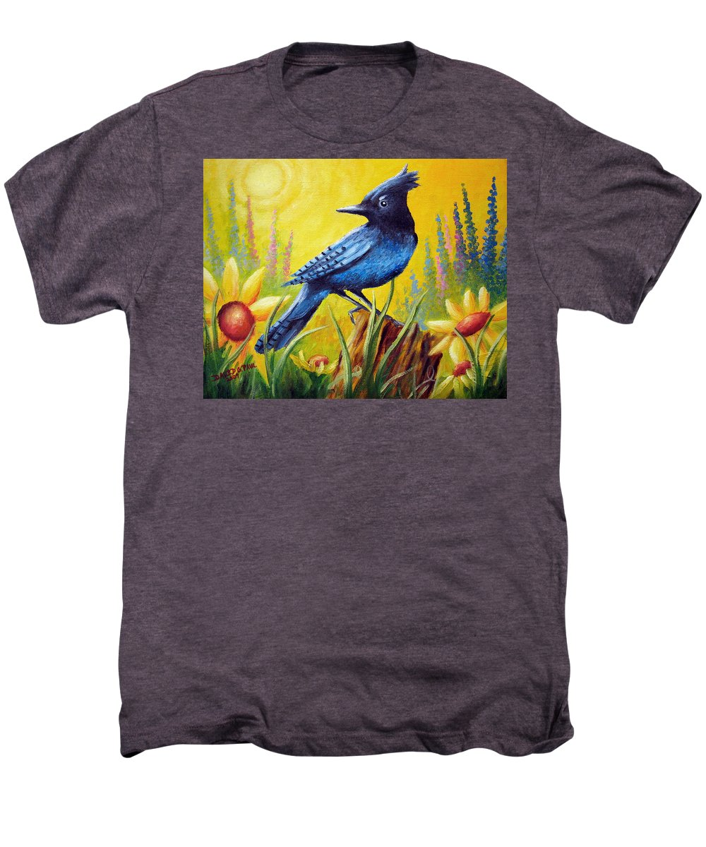 Bird Men's Premium T-Shirt featuring the painting Greeting The Day by David G Paul