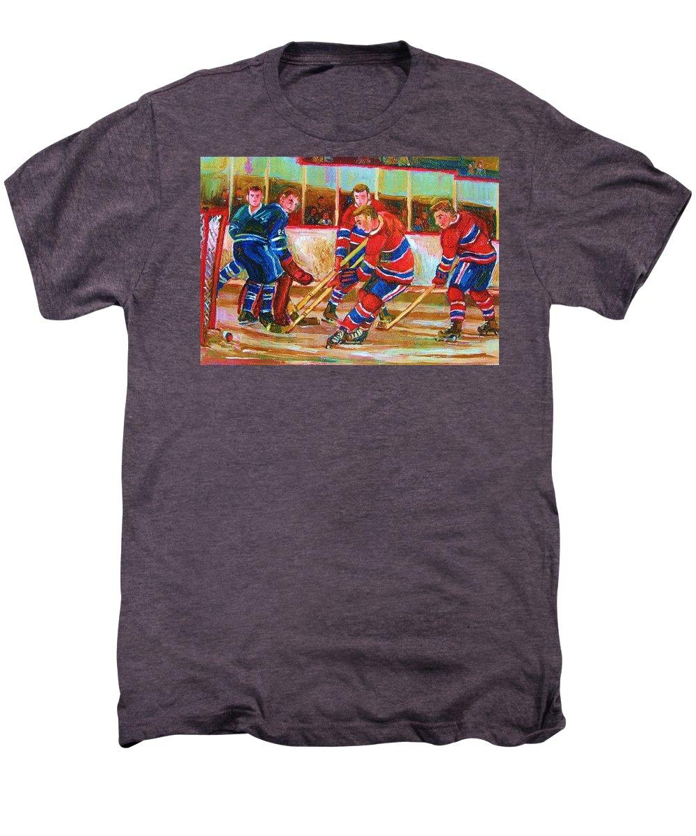 Hockey Men's Premium T-Shirt featuring the painting He Shoots  He Scores by Carole Spandau