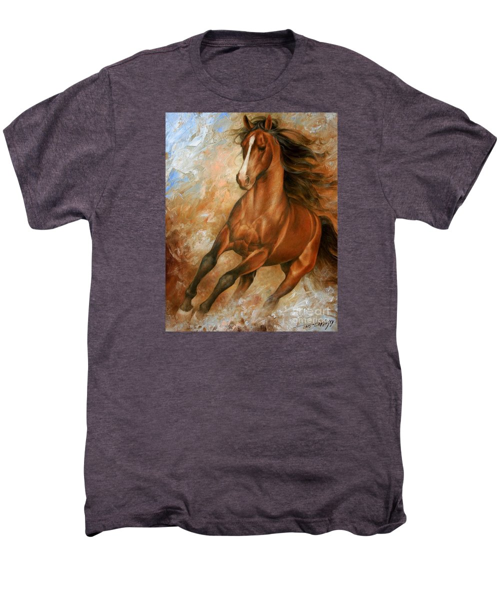 Horse Men's Premium T-Shirt featuring the painting Horse1 by Arthur Braginsky