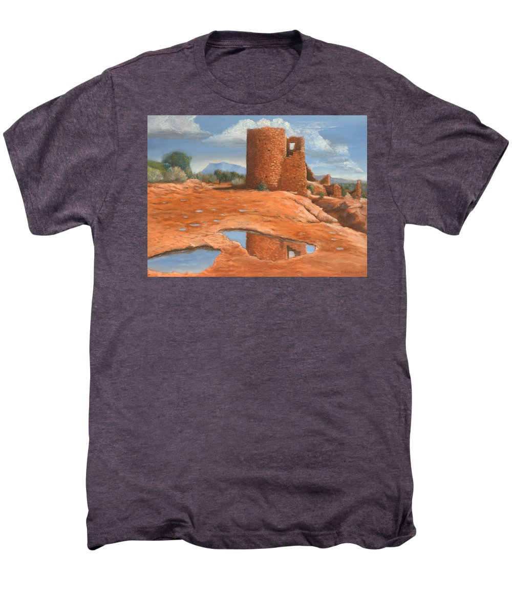 Anasazi Men's Premium T-Shirt featuring the painting Hovenweep Reflection by Jerry McElroy
