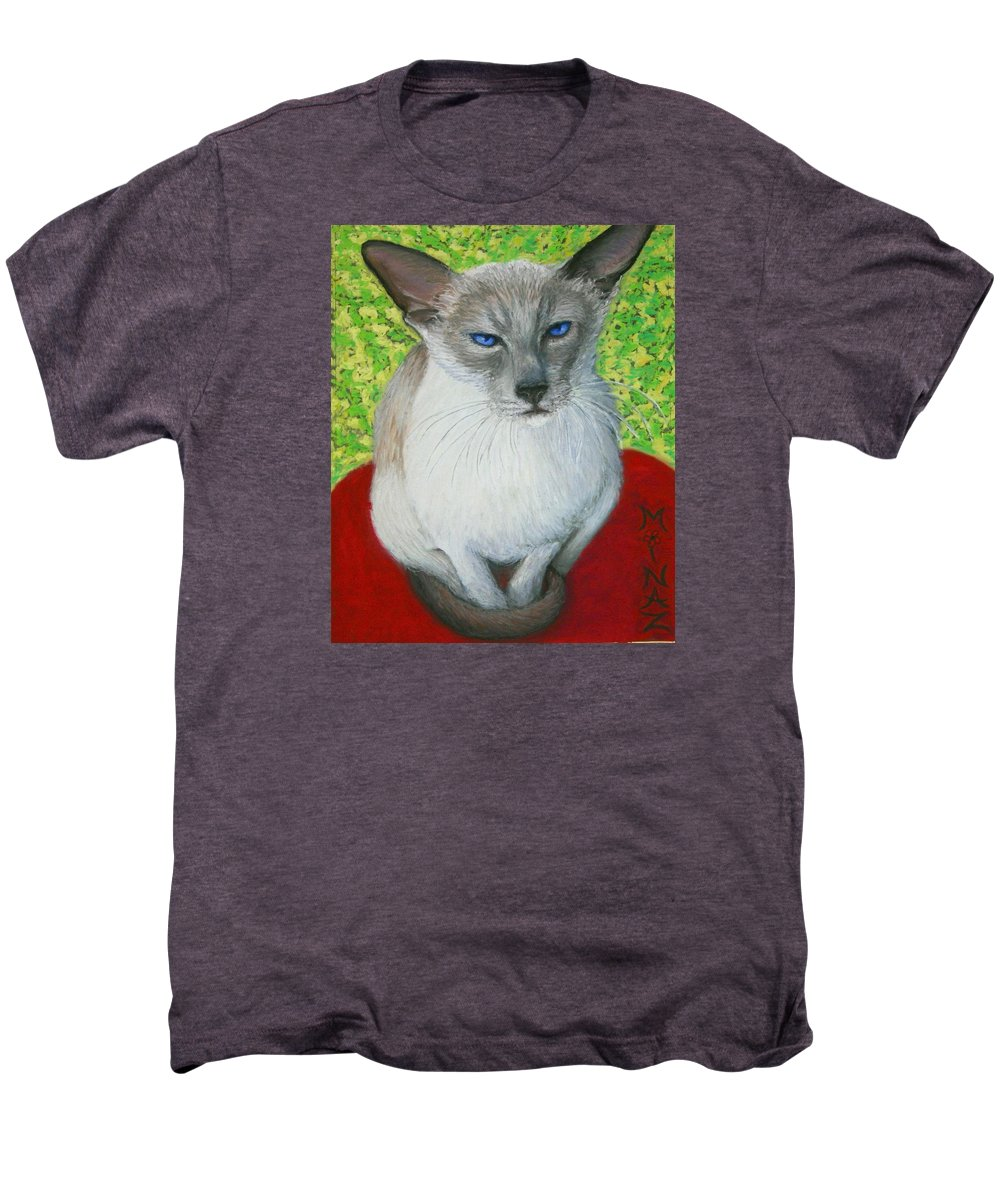 Siamese Men's Premium T-Shirt featuring the painting I Am Siamese If You Please by Minaz Jantz