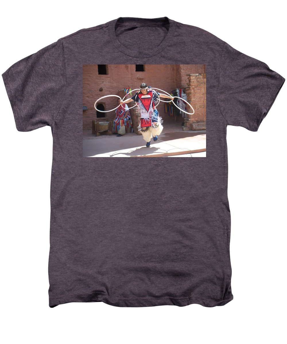 Indian Dancer Men's Premium T-Shirt featuring the photograph Indian Hoop Dancer by Anita Burgermeister