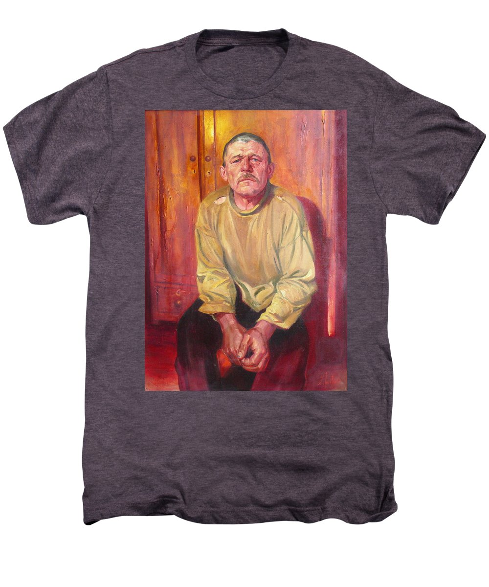 Oil Men's Premium T-Shirt featuring the painting Inhabitant Of Chernobyl Zone by Sergey Ignatenko