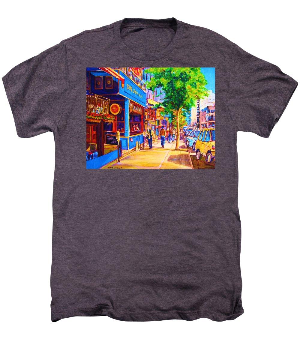 Irish Pub On Crescent Street Montreal Street Scenes Men's Premium T-Shirt featuring the painting Irish Pub On Crescent Street by Carole Spandau